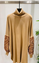 Load image into Gallery viewer, Maddie Rose Gold Sequin Sleeve Roll Neck Dress
