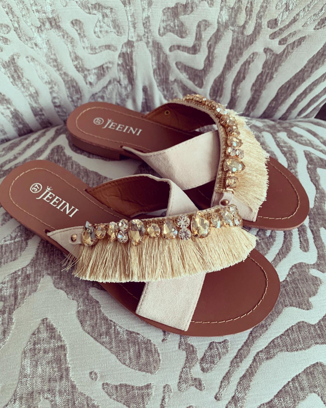 Sasha Beige Fringed Embellished Sandals