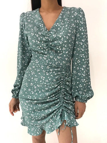 Alba Mint Rushed Side Satin Dress