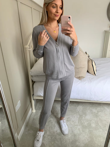 HAYLEY GREY STITCH LOUNGE SET
