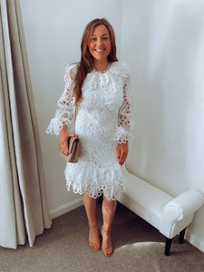 Fifi White Crochet Lace Dress