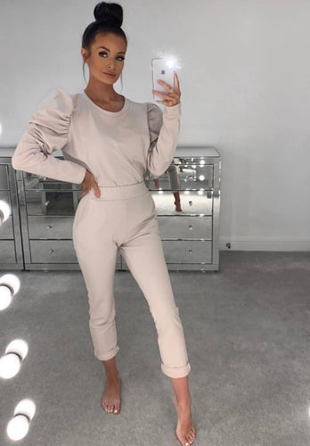 Gabbie Beige Rushed Sleeve Lounge Set