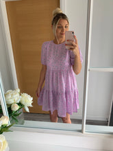 Load image into Gallery viewer, Lavender Floral Tiered Smock Dress