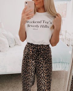 Beverly Hills Slogan Oversized White Tee
