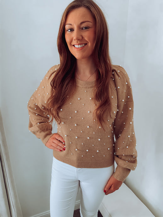 Pearl Knitted Embellished Jumper (Various Colours)