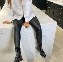 Load image into Gallery viewer, Anna Black Biker Leather Look Leggings