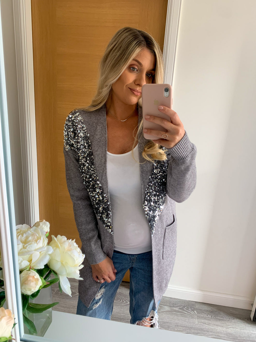 Freya Grey Sequin Longline Cardigan