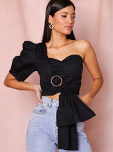 Load image into Gallery viewer, Vogue Black One Sleeve Buckle Top