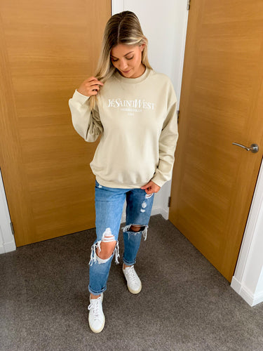 Saint Beige Oversized Slogan Sweatshirt