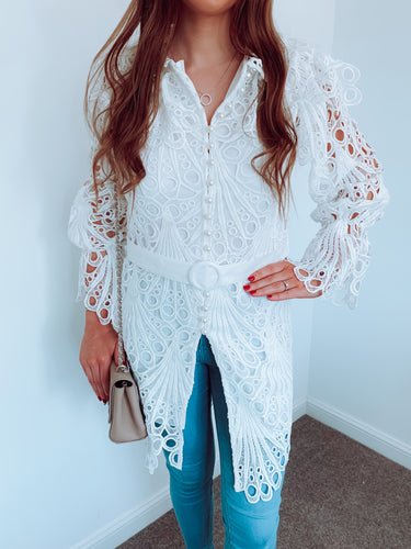 Kate White Lace Button Front Shirt