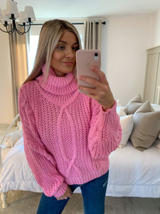 MARNIE PINK CABLE KNIT JUMPER