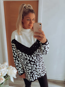 Blair Animal Print Sequin Oversized Jumper
