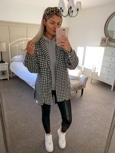 Charlotte Houndstooth Pearl Button Shirt Jacket