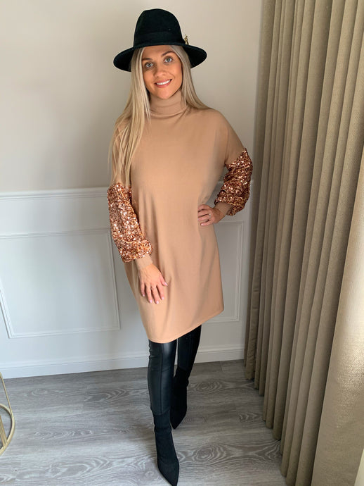 Maddie Rose Gold Sequin Sleeve Roll Neck Dress