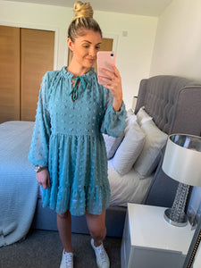 Esme Blue Dotted Chiffon Smock Dress