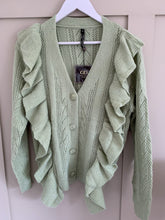 Load image into Gallery viewer, Ayla Sage Green Ruffle Trim Cardigan