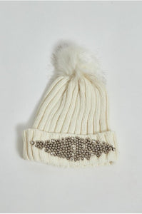 Ivory Embellished Bobble Hat