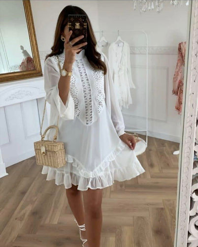 Isabella White Ruffle Smock Dress