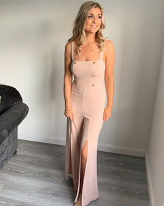Polly Nude Button Split Leg Jumpsuit
