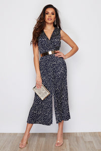 Elsie Navy Spot Pleated Detail Jumpsuit
