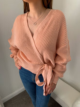 Load image into Gallery viewer, Penelope Peach Wrap Knitted Jumper