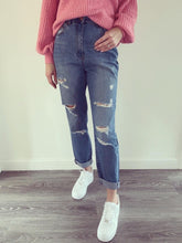 Load image into Gallery viewer, Gina Blue Denim Ripped Boyfriend Jeans
