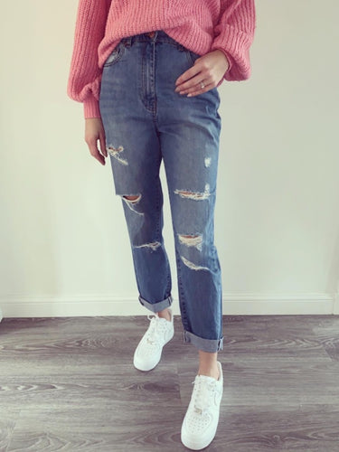 Gina Blue Denim Ripped Boyfriend Jeans