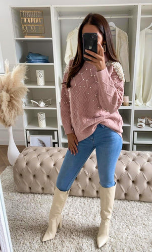 Amber Embellished Cable Knit Oversized Jumper