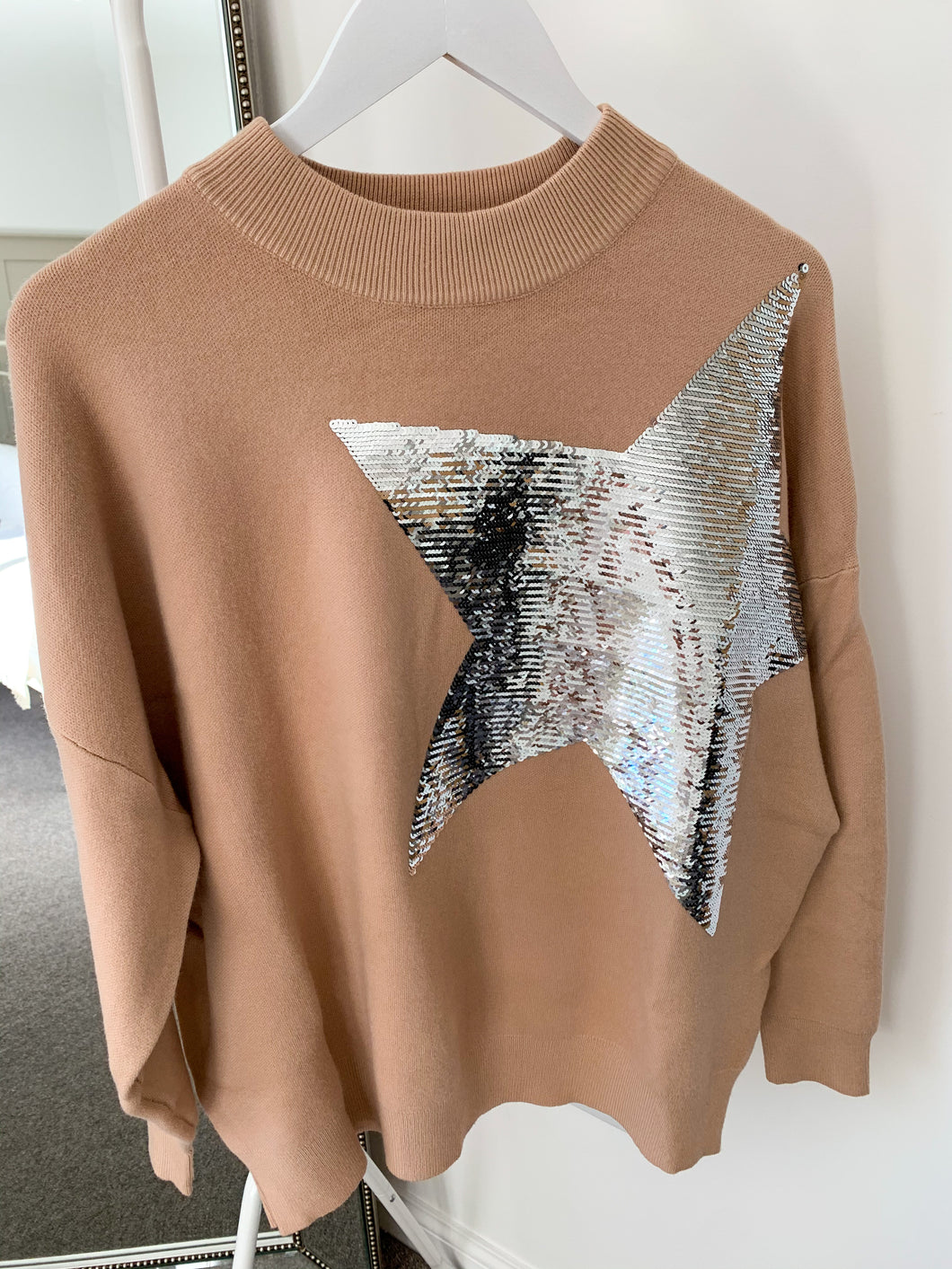 Celine Star Sequin Oversized Jumper