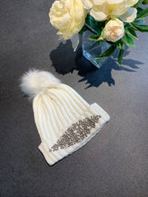 Load image into Gallery viewer, Ivory Embellished Bobble Hat