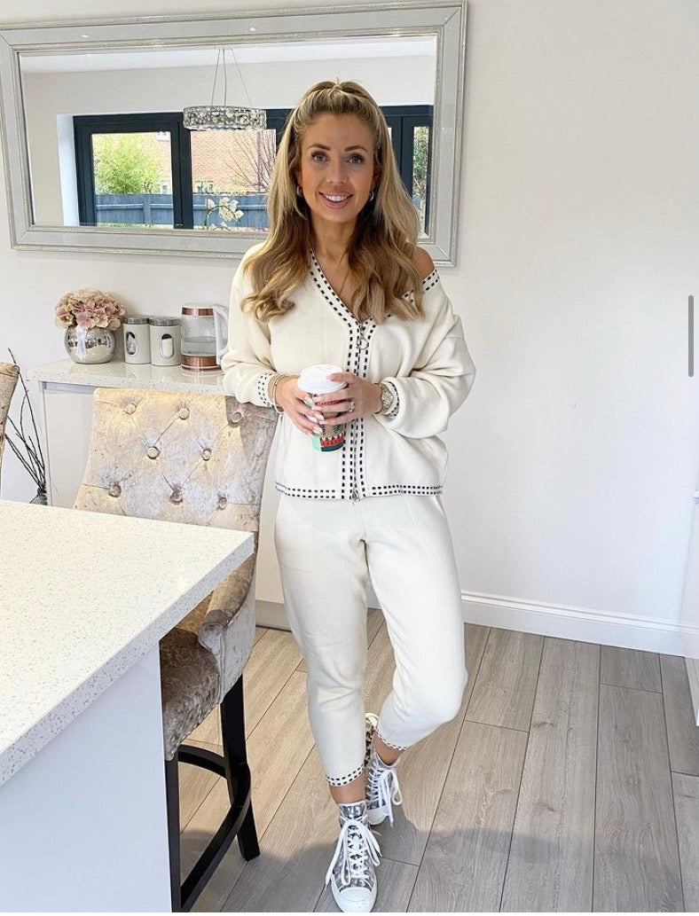 HAYLEY CREAM STITCH LOUNGE SET