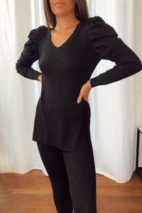 Ivy V Neck Black Ribbed Lounge Set