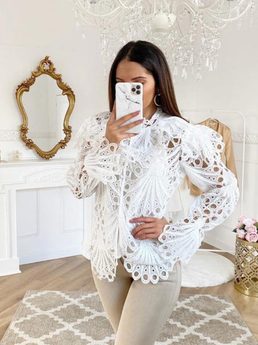 Lacey Cutwork Detail White Blouse