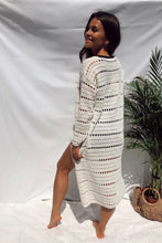Load image into Gallery viewer, Amy Crochet Longline Cream Cardigan