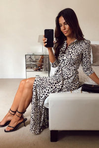 Angela Animal Print Shirt Midi Dress