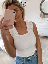 Load image into Gallery viewer, WHITE FAYE RUFFLE KNIT TOP