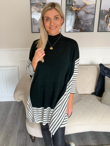 CARLA BLACK STRIPE SIDE SPLIT JUMPER
