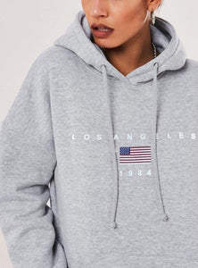 LA GREY FLEECE LINED HOODIE