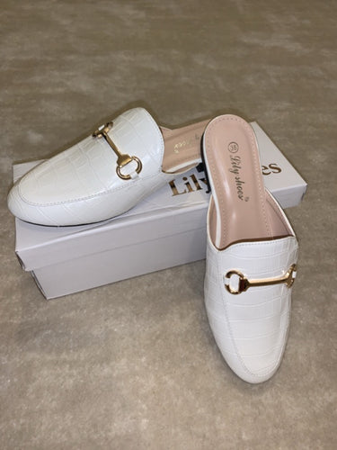 Tia White Croc T Bar Loafers