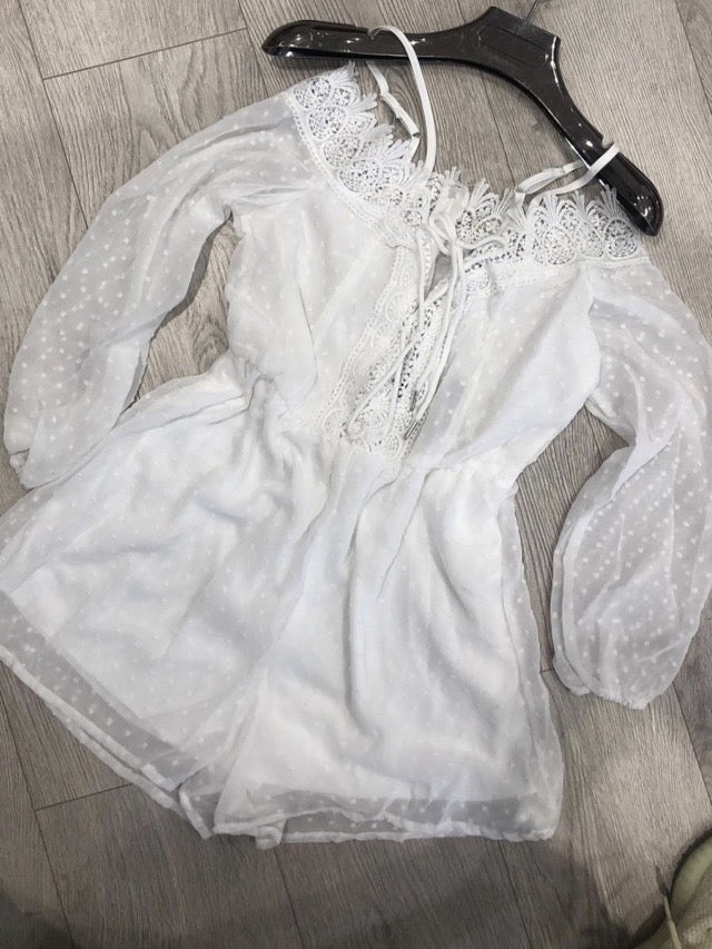 NINA DOBBY SPOT LACE PLAYSUIT