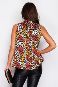 Ellie High Neck Animal Print Blouse
