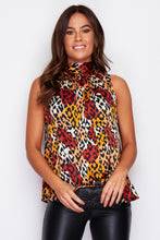 Load image into Gallery viewer, Ellie High Neck Animal Print Blouse
