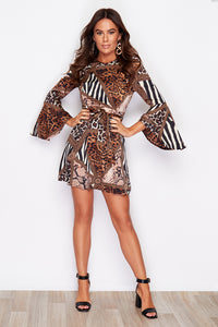 Estelle Animal Print Flute Sleeve Dress