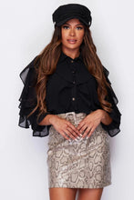 Load image into Gallery viewer, Alyssa Black Ruffle Chiffon Blouse
