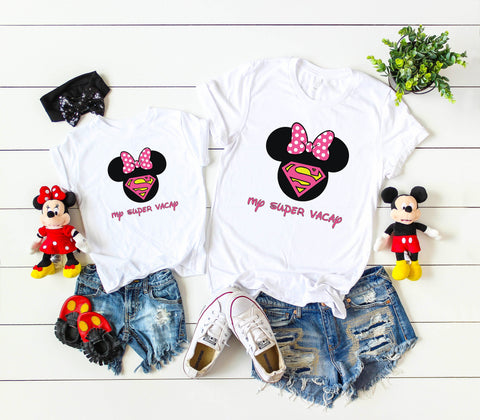 Disney matching Family shirts with My Super Vacay