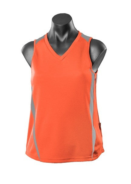 Ladies Eureka Training Singlet - Orange/Charcoal