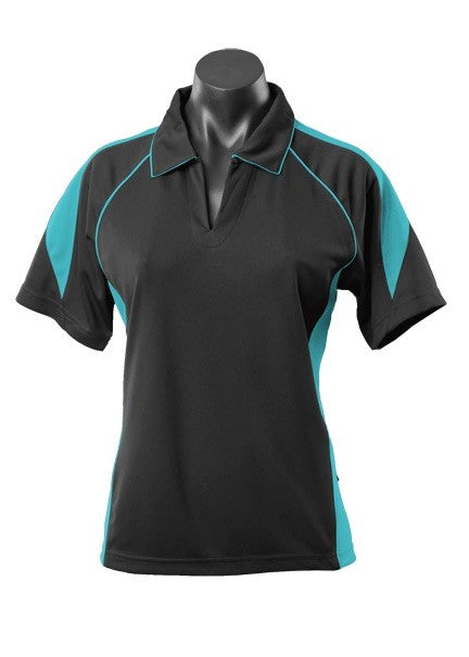 Premier Ladies Polo - Black/Teal