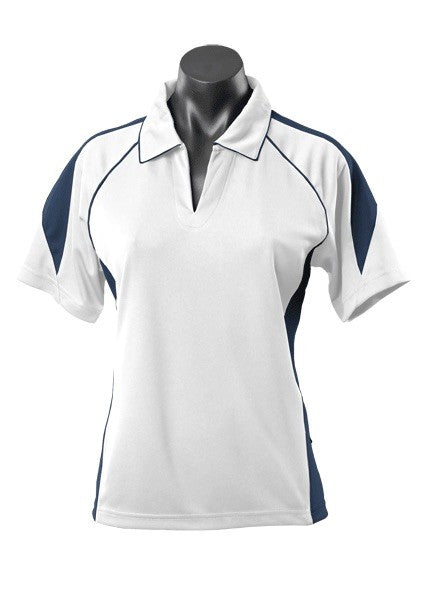 Premier Ladies Golf Polo - White/Navy