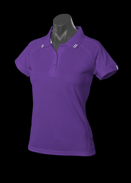 Flinders Polo - Purple/Wht