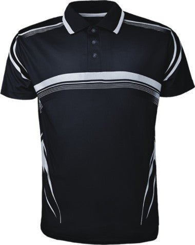 Sublimated Golf Polo - Black/White